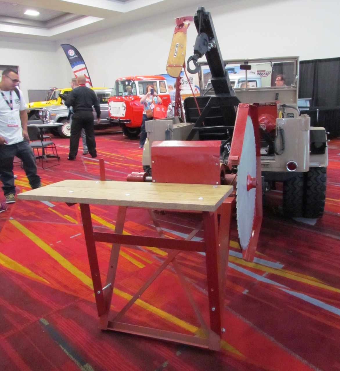 Special equipment includes tow bar, saw and table