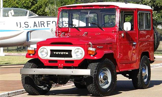 The 1977 Toyota Land Cruiser sports a fresh coat of red paint and new Bridgestone off-road tires