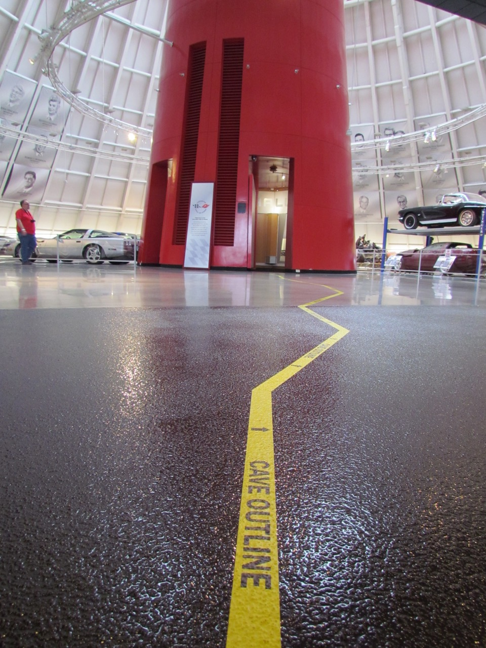 Tape on floor shows outline of the cave beneath the Skydome at the National Corvette Museum | Larry Edsall photos