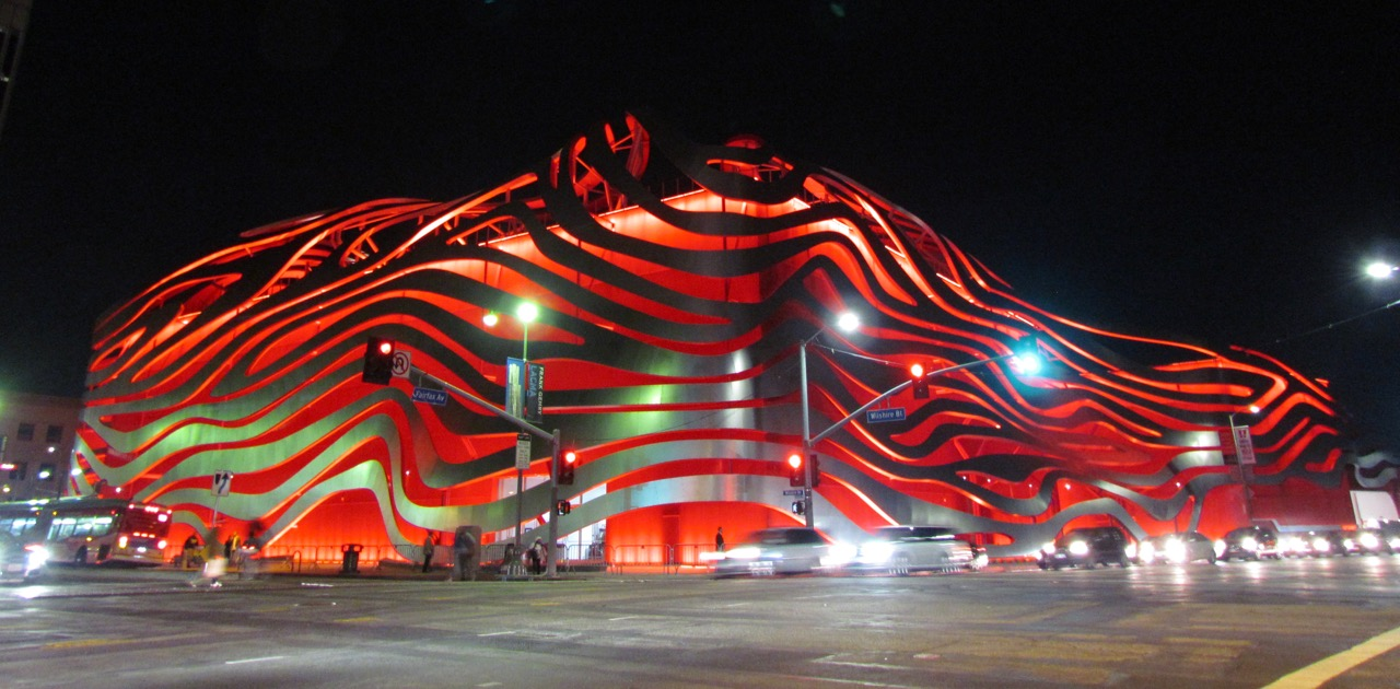 The new exterior facade of the Petersen Automotive Museum