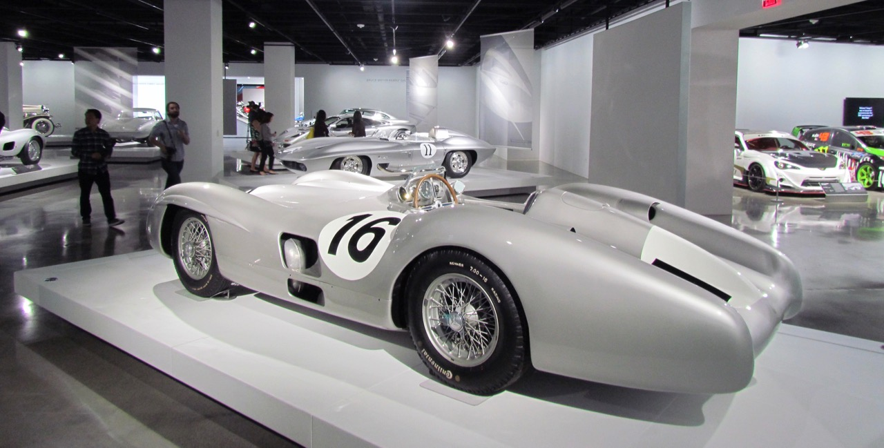 1954 Mercedes-Benz W196 among silver cars in a special display | Larry Edsall photos