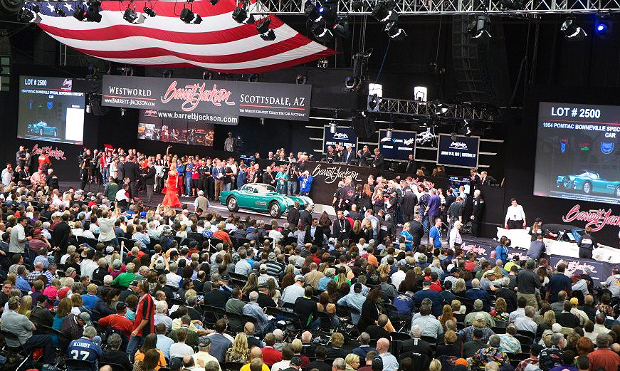 The 1954 Pontiac Bonneville Special on the block during the Scottsdale auction| Barrett-Jackson photos