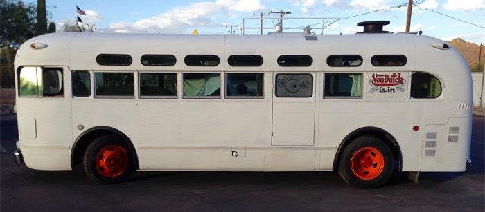 Famed pinstripes Von Dutch worked and even lived in this bus