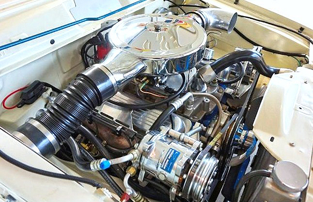 The Chevy V8 installation gleams with chrome and polish