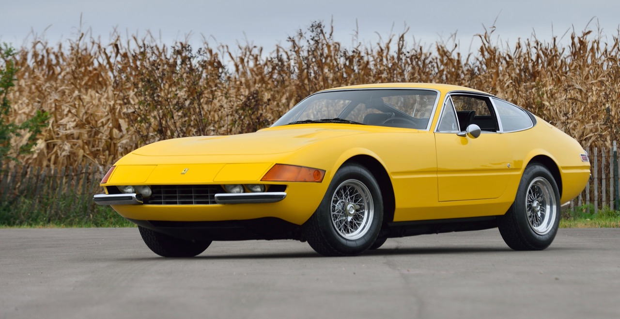 1973 Ferrari e65 GTB/4 Daytona crosses the bock Thursday