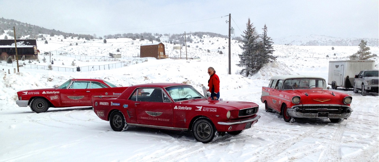 Classic cars and drivers take a coffee break in eastern Utah somewhere along Route 6 | Steve Purdy photos