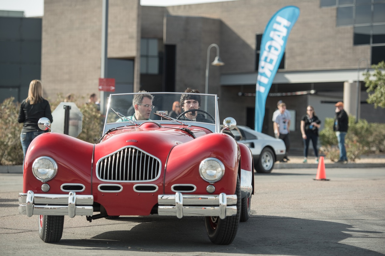 Jed Rapoport lets a student take the wheel of his 1951 Allard K2 | Hagerty photos