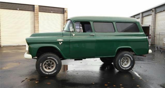 1959 GMC Napco panel wagon has been lifted even more than the usual 4x4 setup