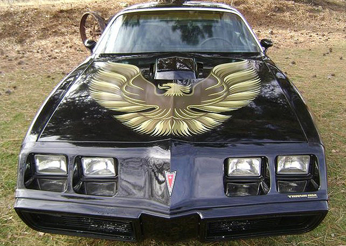 The 1979 Pontiac Trans Am is emblazoned with the famous golden eagle, aka screamin' chicken, on its hood