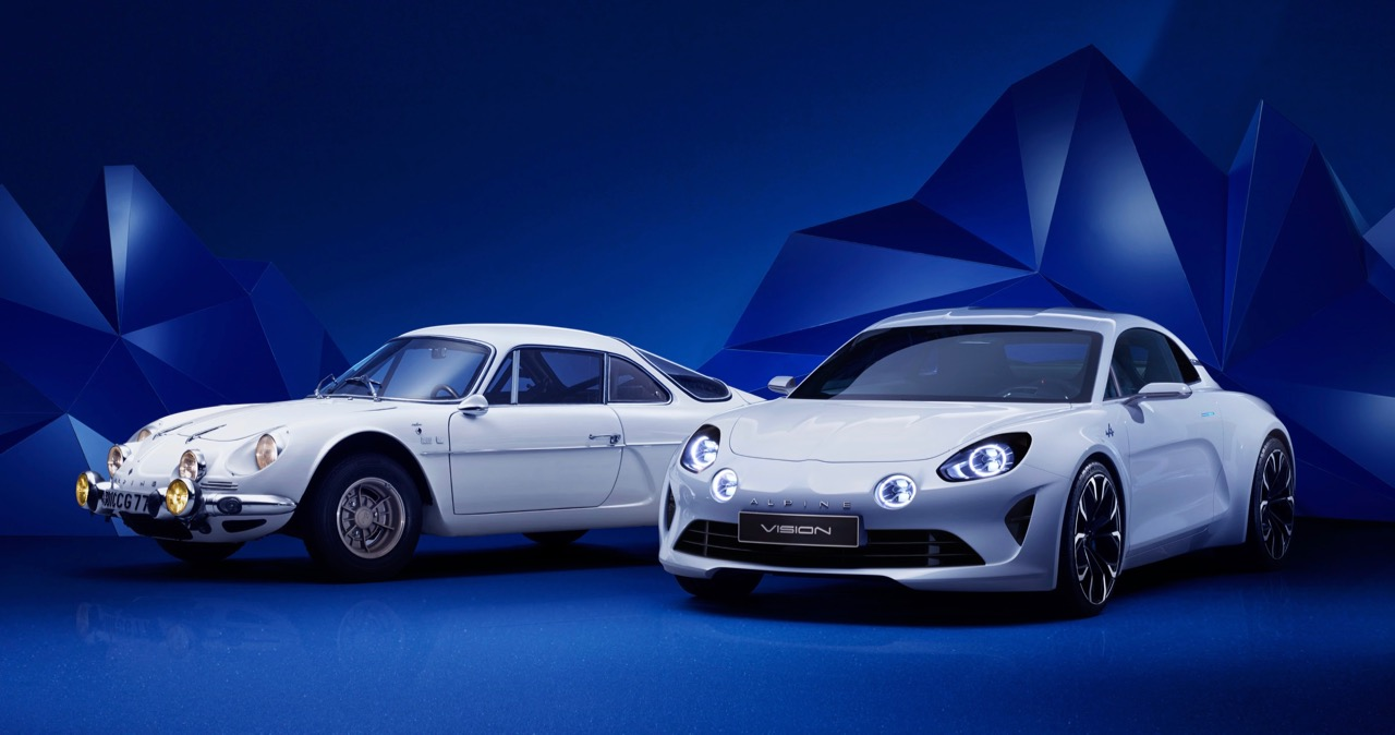 The classic Alpine A110 (left) and the new Vision concept car | Photos courtesy Renault UK Limited
