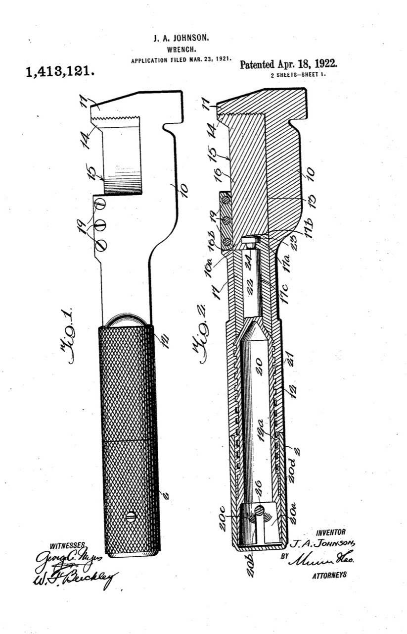 Patent papers: Jack Johnson's wrench