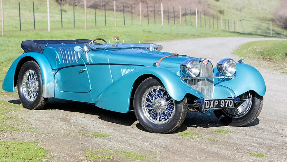 The Bugatti with its top down, windshield folded and ready to run | Bonhams