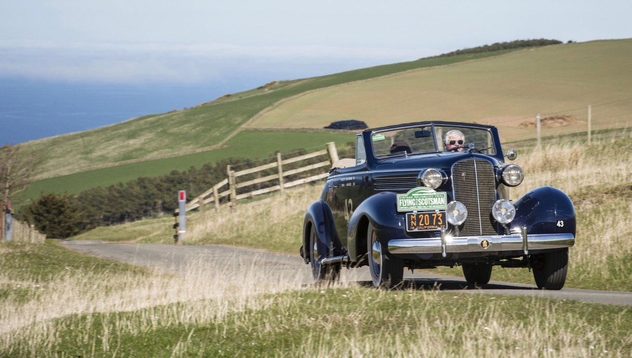 American James Gately and his 1937 Cadillac is among the entrants in the 8th Flying Scotsman Rally | ERA photos