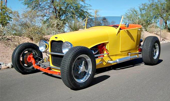 The 1927 Ford roadster is built around a body and frame produced by Zipper Motors