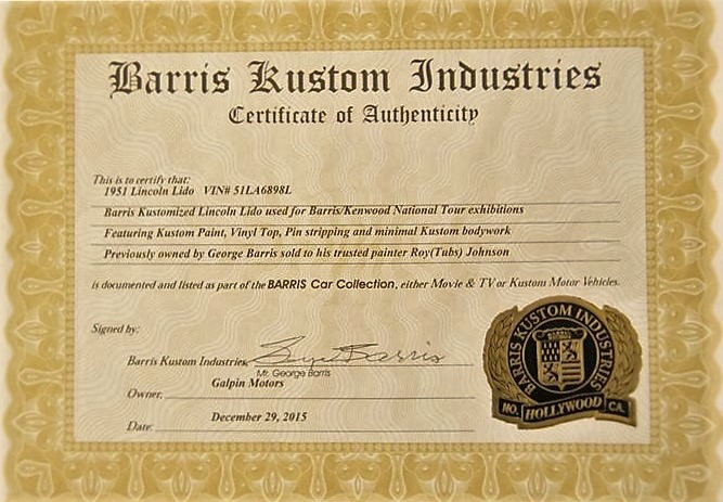 George Barris signed the Certificate of Authenticity