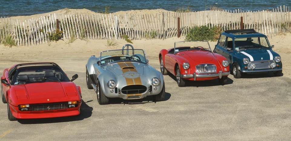 Rental fleet includes (from left) 1984 Ferrari 308, 1964 Shelby Cobra replica, 1958 MG MGA and 1971 Mini Cooper S | Classics&Exotics photo