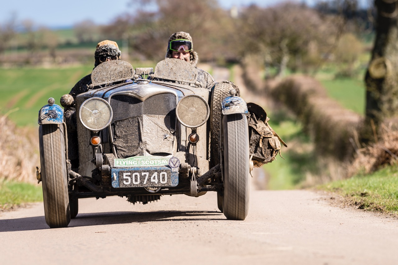 Muddy but smiling faces in a 1935 Riley 12/4 Special 1495 on the Flying Scotsman Rally | Endurance Rally Associaiton photos