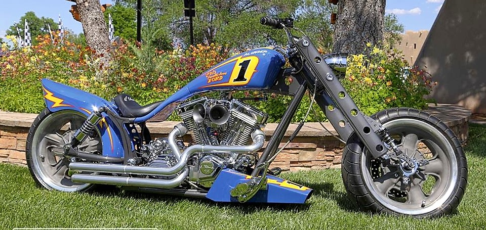Al Unser's Pro Street Motorcycle was built has a tribute to his Indy-winning race car