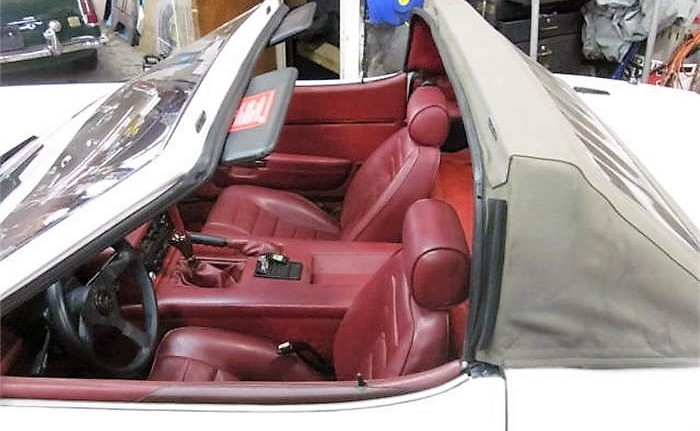 The three-position top can be deployed in the targa position