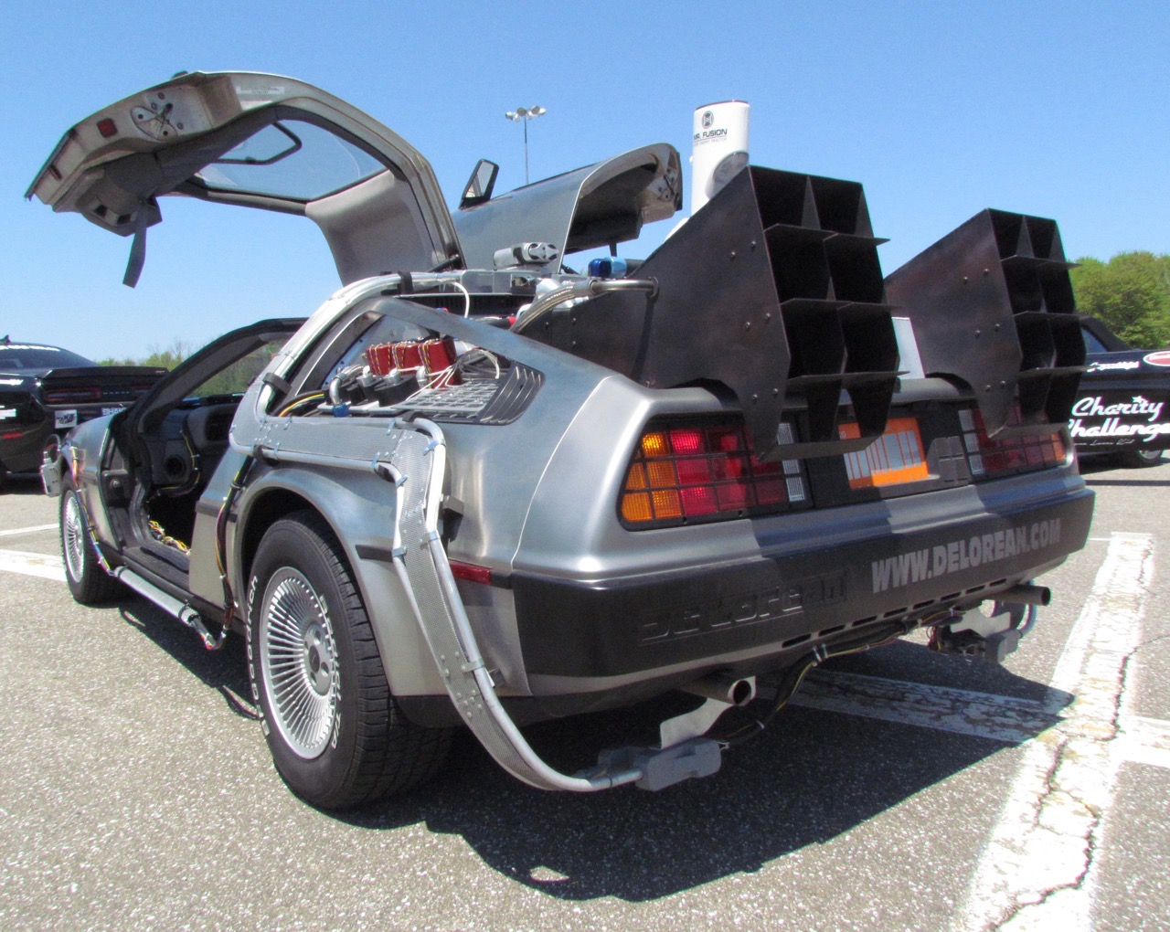 'Back to the Future' DeLorean was part of the ELK Charity Challenge caravan last week | Larry Edsall photos