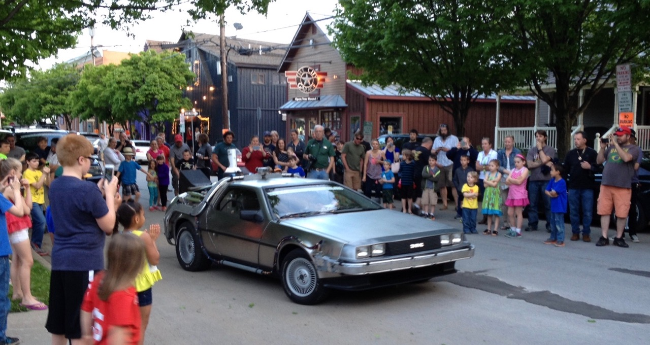 'Back to the Future' DeLorean was popular at stops along the ELK Charity Challenge route | Photos by Larry Edsall