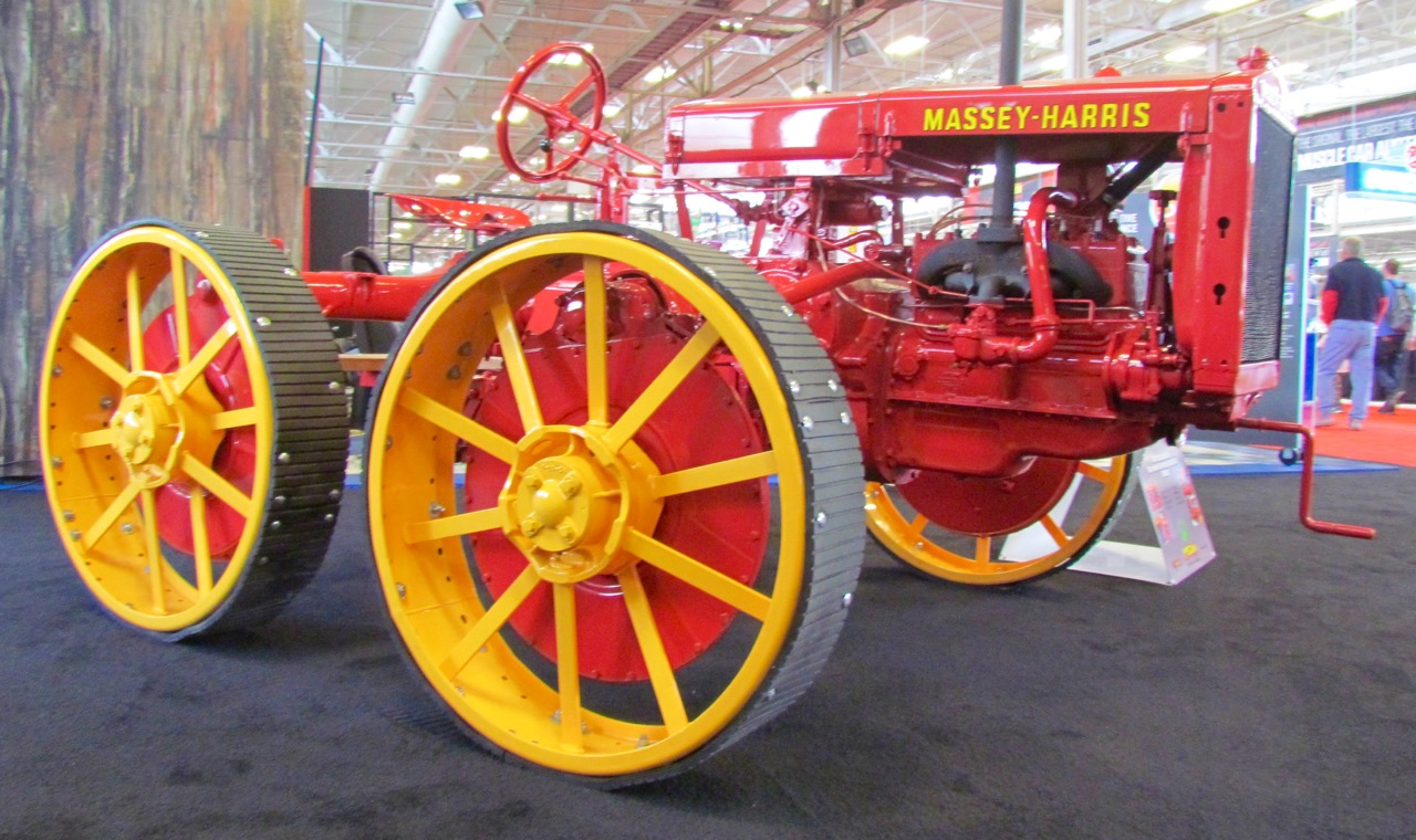 An early Massey-Harris -wheel drive tractor