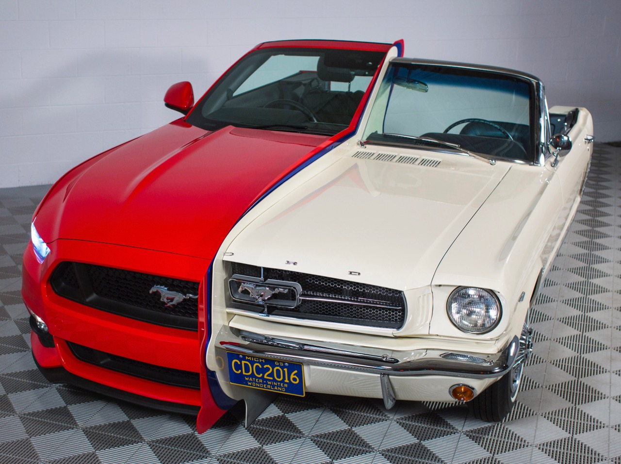 Split personality: 2015 and 1965 Ford Mustangs combined to showcase technology | Ford photos