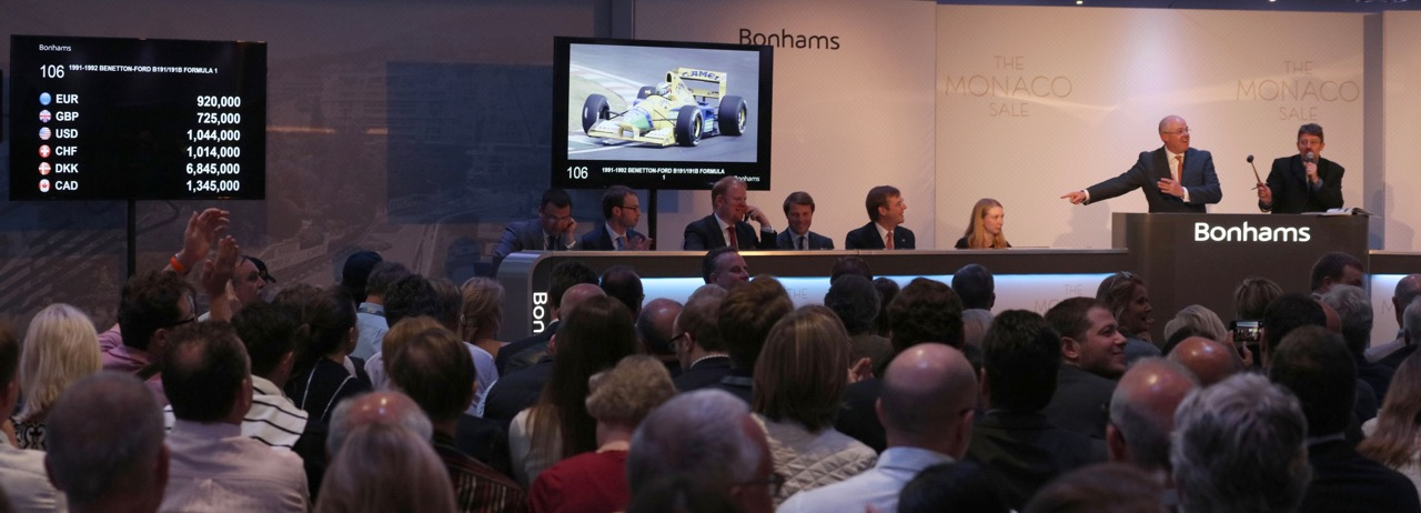 Also raced by 3-time champion Nelson Piquet, Benetton-Ford racer took Michael Schumacher to his first podium finish | Bonhams photos
