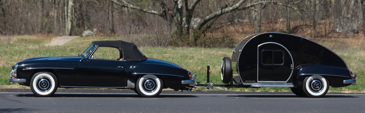 1959 190SL and teardrop trailer sell for $192,500 at Greenwich | Bonhams photos