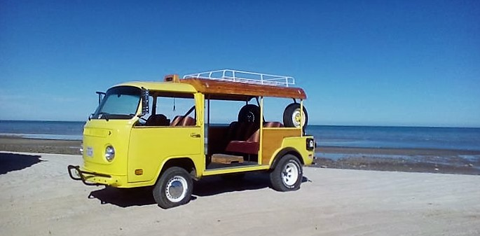 The modified Volkswagen bus in its natural habitat, on the beach