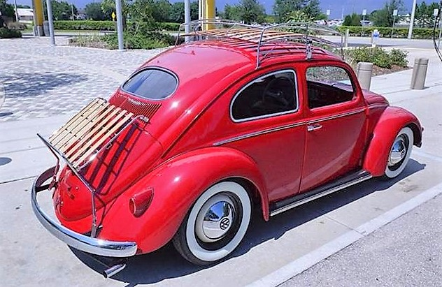 The Beetle is adorned with hand-crafted luggage racks
