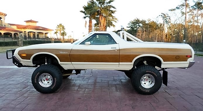 The Ranchero body floats above huge all-terrain tires