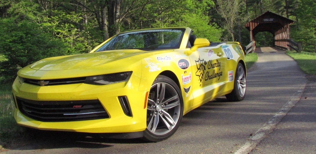 Bestickered 2016 Chevrolet Camaro RS with a covered bridge in upstate New York | Larry Edsall photos