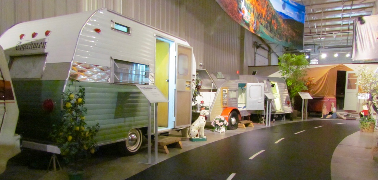 RVs are displayed along a campground-style roadway in the museum | Larry Edsall photos