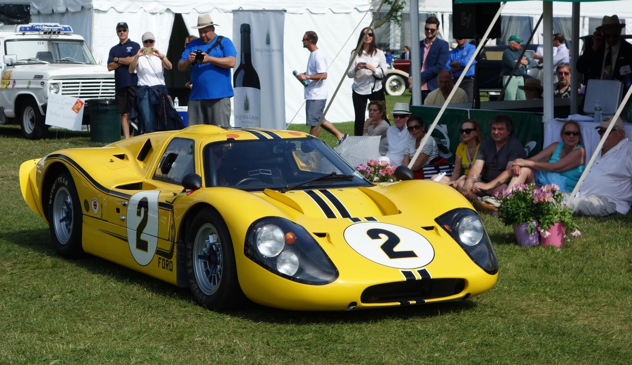 A Ford GT40 racer rolls up to the awards presentation | Andy Reid photos