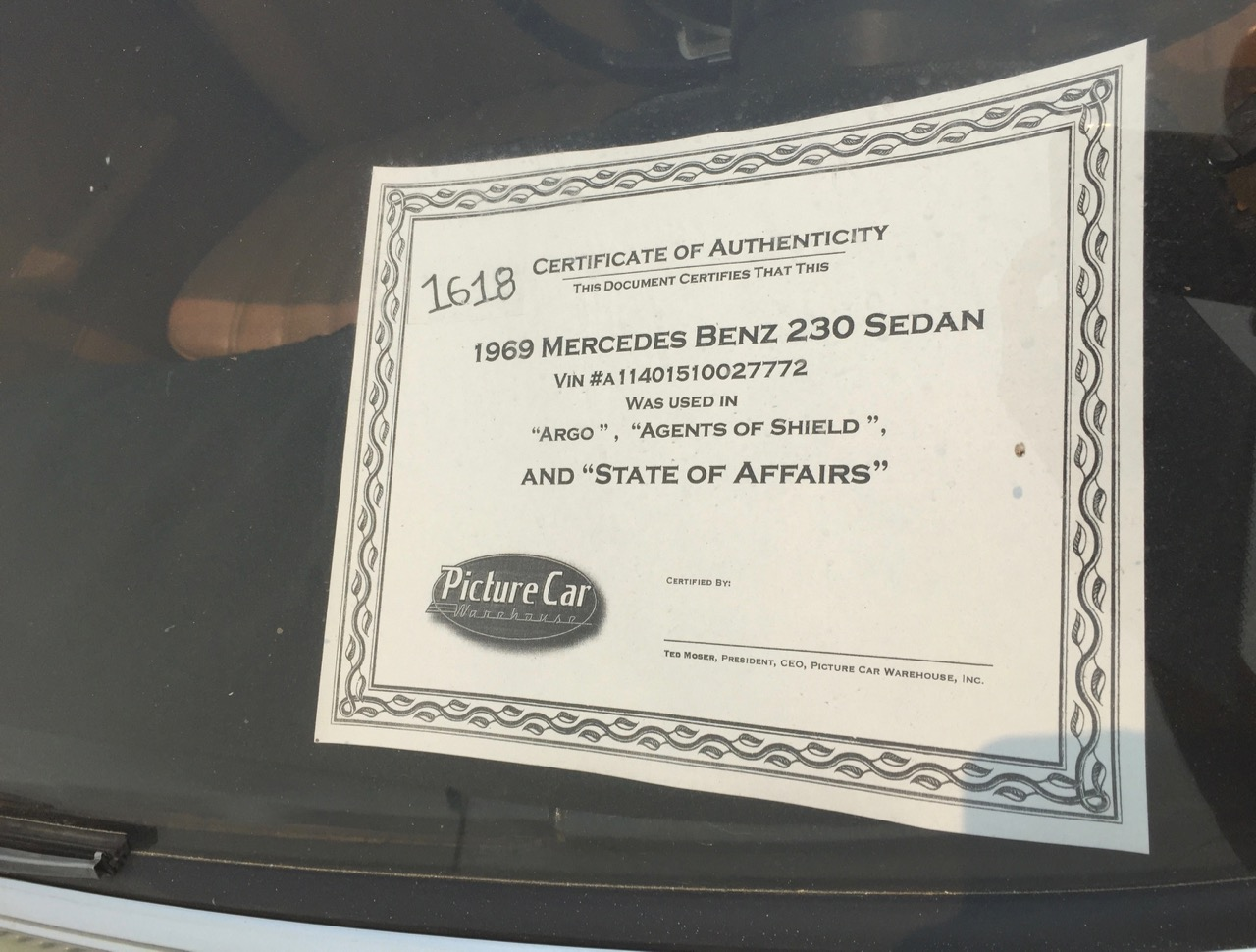 Certificate of Authenticity on 1969 Mercedes-Benz 230 sedan