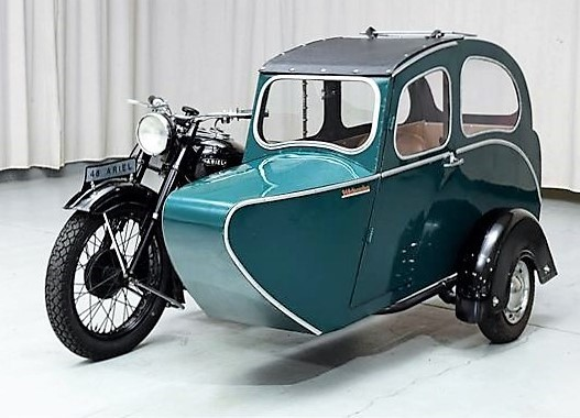 The Ariel Square Four is a coveted classic motorcycle, especially attached to such an attractive vintage sidecar