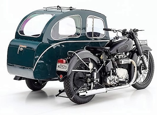The Watsonian sidecar has tandem seating for two a small trunk