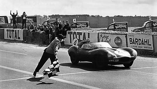 The Jaguar crosses the finish line at Le Mans | Jaguar archive