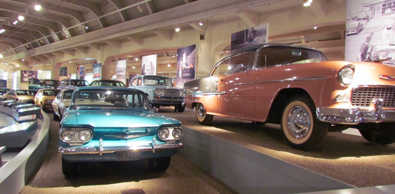 A two-tiered 'timeline' curves through the Driving America exhibit at The Henry Ford museum | Larry Edsall photos
