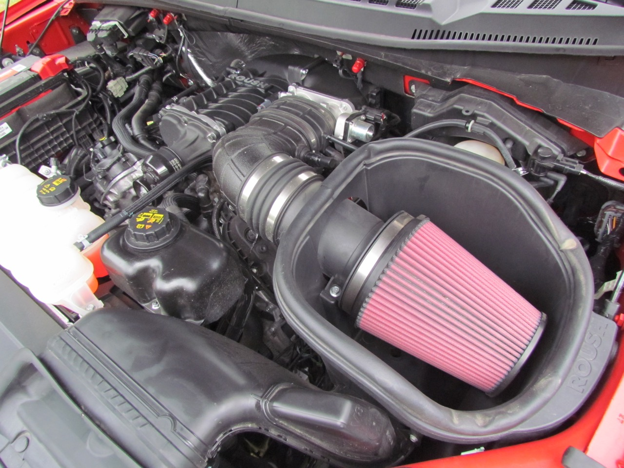 Cold-air intake, supercharger are part of the Roush SC package