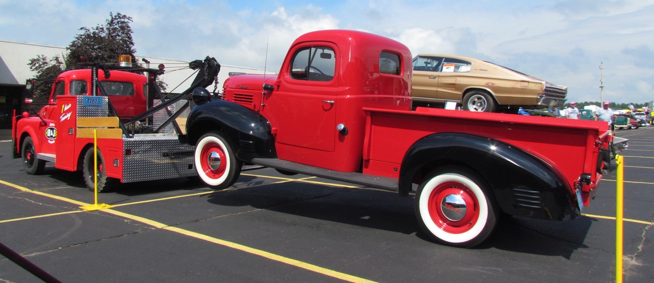Vintage 1950 Dodge tow truck and pickup were displayed at recent Iola Old Car Show | Larry Edsall photos