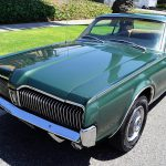 The Mercury Cougar has been repainted in its original shade of dark metallic green
