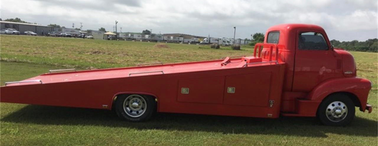 1953 Chevrolet 'pickup' has 12,000-pound winch for loading a vehicle onto its slanted bed