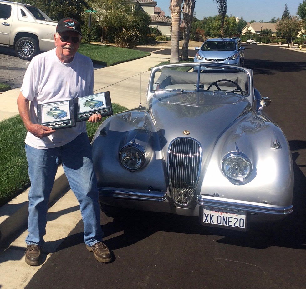 Dad and the Jag and car-show awards | Verhoek family archives