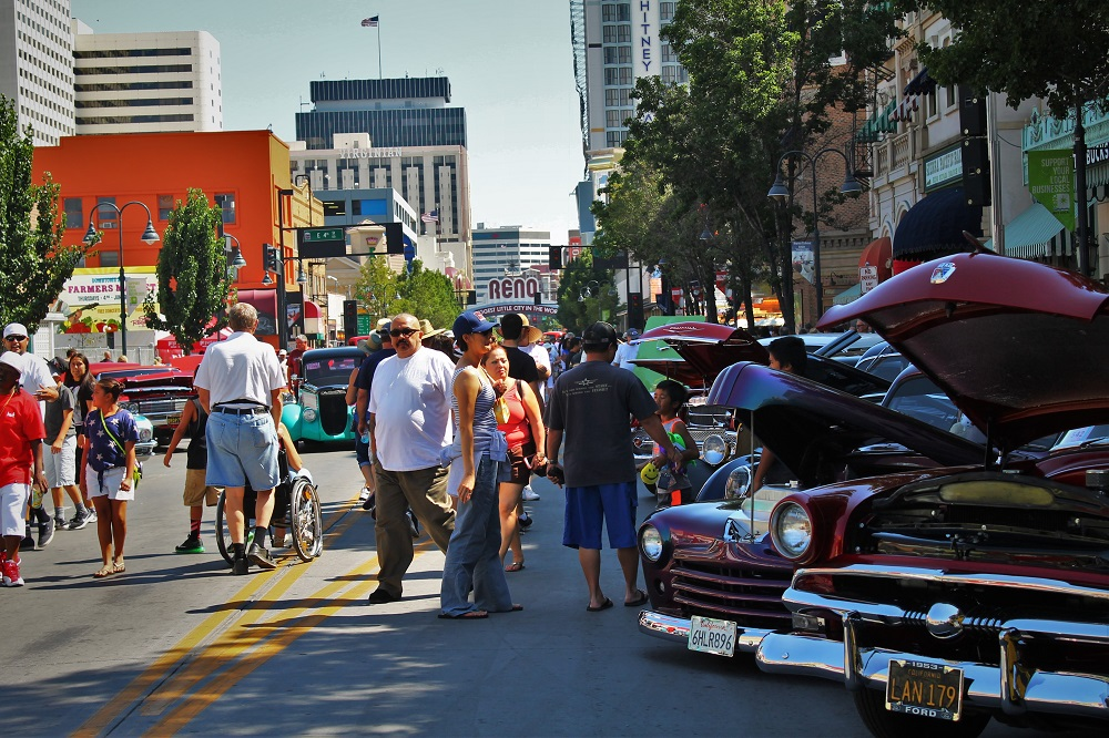 Classic cars line the streets of downtown Reno