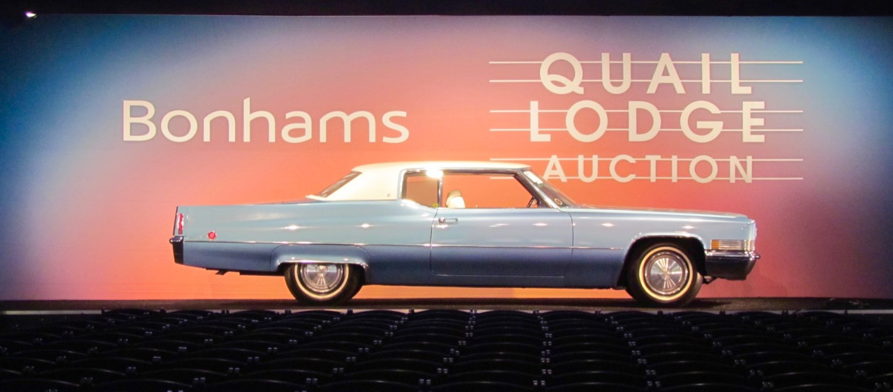 A 1970 Cadillac Coupe Deville is among the cars scheduled to cross the block Friday at Bonhams' Quail auction | Larry Edsall photos