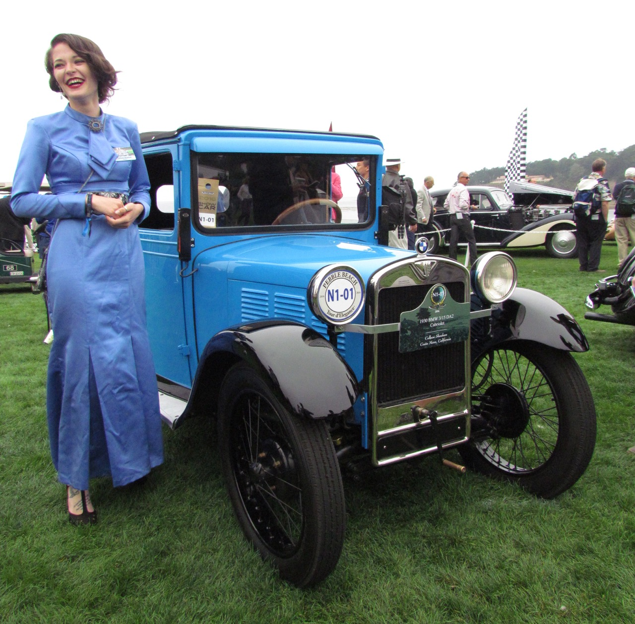 Colleen Sheehan and her half of the1930 BMW 3/15 DA2 cabriolet