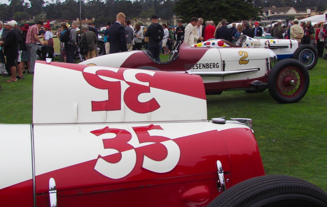 Ten vintage two-man Indy racing cars from 1930-1937 drew attention Sunday at Pebble Beach | Larry Edsall photos