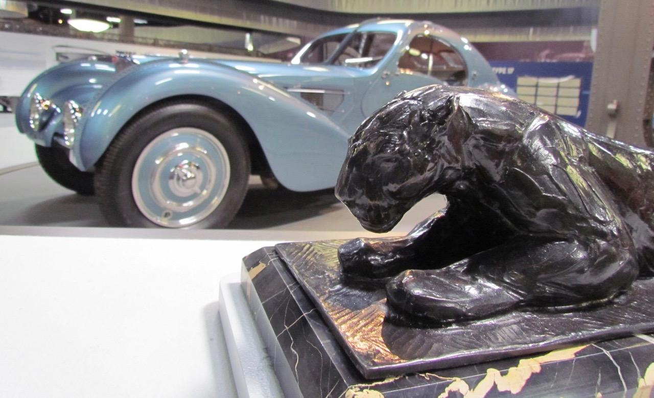 1936 Bugatti Type 57C Atlantic and a Rembrandt Bugatti sculpture | Larry Edsall photos